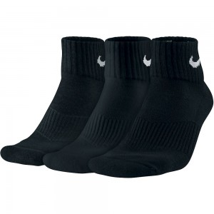 Nike-Sosete Performance Cushion Quarter Alb/Negru