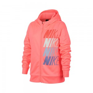 Nike - Therma Hoody Hanorac Fete Roz coral/Albastru/Alb