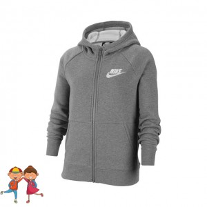 Nike - Sportswear Full-Zip Training Hanorac Fete (Copii) Gri/Alb