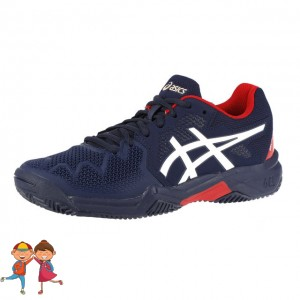 Asics - Gel-Resolution 8 Clay Incaltaminte Tenis Zgura Unisex Copii Bleumarin/Rosu/Alb