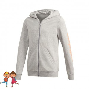 adidas - Essentials Linear Full-Zip Hoodie Hanorac Sport Fete Gri deschis/Roz coral