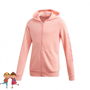 adidas - Essentials Linear Full-Zip Hoodie Hanorac Sport Fete (Copii) Roz deschis/Roz coral