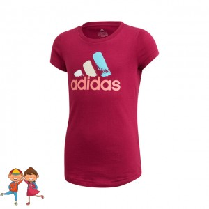 adidas - Badge Of Sport Graphic Tee Tricou Tenis Fete (Copii) Violet Berry/Multicolor