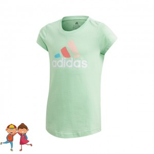 adidas - Badge Of Sport Graphic Tee Tricou Tenis Fete (Copii) Verde mint/Alb/Multicolor
