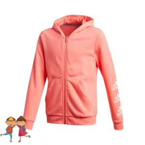 adidas - Must Have Badge Of Sport Full-Zip Hoodie Hanorac Fete (Copii) Roz coral/Alb
