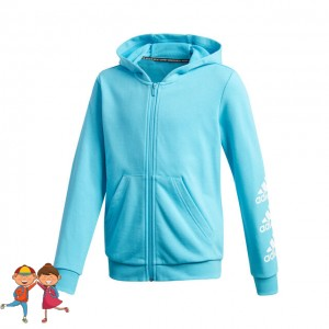 adidas - Must Have Badge Of Sport Full-Zip Hoodie Hanorac Fete (Copii) Albastru turcoaz/Alb
