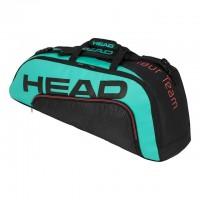 HEAD - Gravity Tour Team 6R Combi Geanta Tenis 6 Rachete Negru/Verde Turcoaz/Rosu Coral