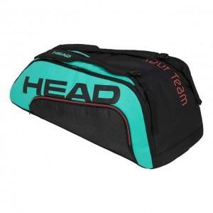 HEAD - Gravity Tour Team 9R Supercombi Geanta Tenis 9 Rachete Negru/Verde turcoaz/Rosu coral