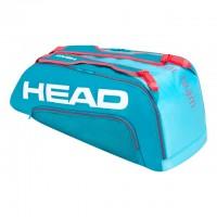 HEAD - Tour Team 2020 9R Supercombi Geanta Tenis 9 Rachete Albastru deschis/Rosu coral/Alb
