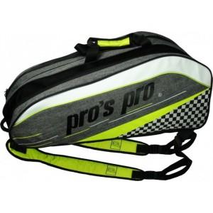 Pro's Pro - Geanta Tenis 12 Rachete Gri/Verde lime/Negru/Alb