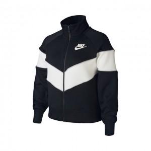 Nike - Sportswear Heritage Bluza Trening Fete (Copii) Negru/Alb/Gri