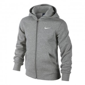 Nike - Brushed Fleece Full-Zip Hoodie Hanorac Baieti gri/alb