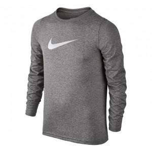 Nike - Dry Long Sleeve Bluza Tenis Baieti gri inchis/alb